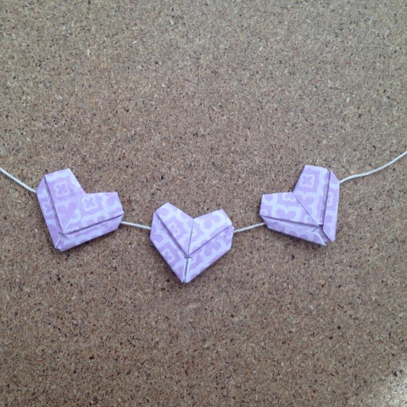 origami heart garland.