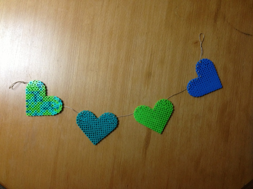 fuse bead heart garland.
