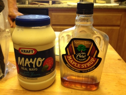 1:1 ratio of mayo to maple syrup.