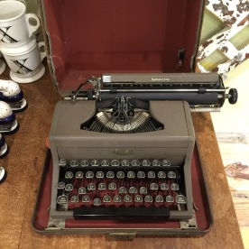 A typewriter. Not for sale, but I always find myself being drawn to display items. #thestruggleisreal