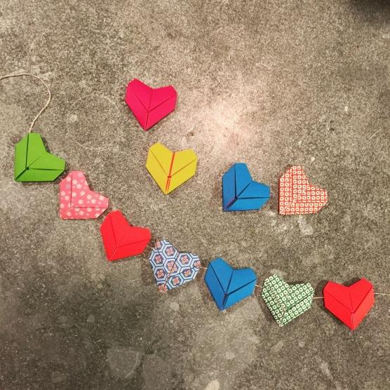 origami hearts.