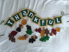 """""""Thankful"""" and fall leaves."""