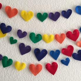 Rainbow hearts.