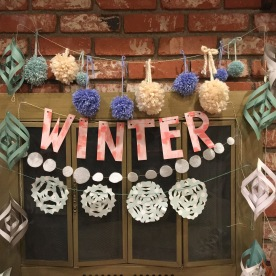 "Poms, ""Winter"", snowballs, snowflakes, and icicles."